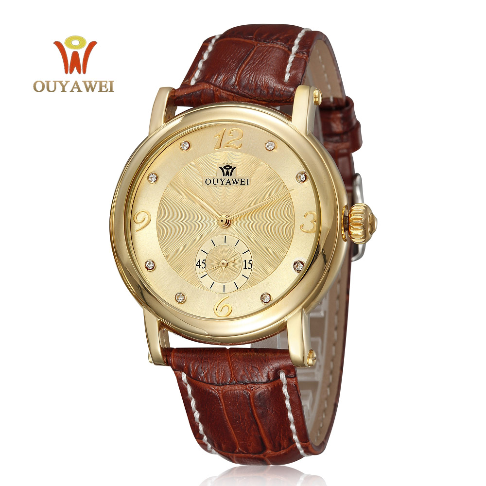 Top Brand Ouyawei Men Gold black Fashion business Watches Automatic Mechanical Wrist watches Luxury Brand clock with leather top brand luxury mechanical ouyawei watches mens business fashion brand date clock men automatic calendar watch horloges mannen