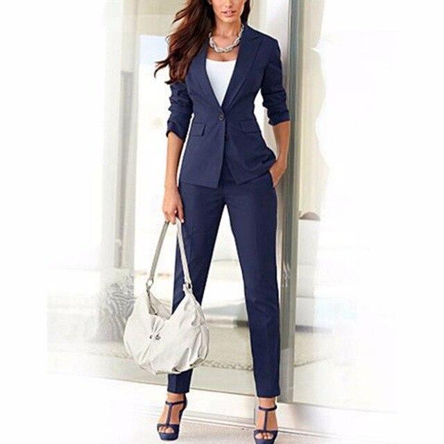 bdd1e02ca75 Куртка брюки Темно-синие Для женщин Бизнес костюмы смешанный хлопок  Формальные Женский Тонкий Брючный костюм