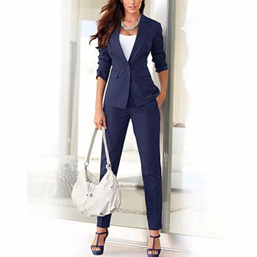 Jacket Pants Navy Blue Women Business Suits Cotton Blended Formal Female Slim Trouser Suit Office Uniform Style Ladies Suits W62