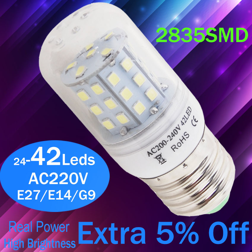 E27 E14 LED Lamp 2835SMD LED Lights Led corn Bulb 24leds 42Leds Chandelier crystal Lamp Candle Lighting Home Decoration led candle lights 2835smd candle bulb lamp high brightness 3w e27 e14 ac220v 110v cold white warm white led bulb lamp