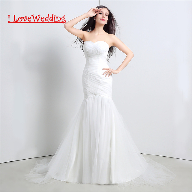 In Stock White Mermaid Wedding Dresses Ruffle Tulle Lace Up Cheap Women Formal Bridal Gowns Vestidos