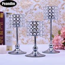 Peandim Luxury Crystal Silver Ceremony Decoration Candle Holder Party Bar Home Romantic Candelabra Centerpiece