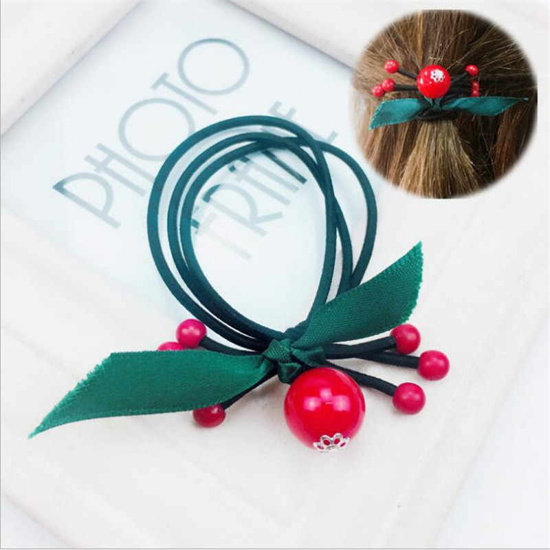 1PCS Ribbon China Red Elastic Hair Bands Toys For Girls Handmade Bow Headband Scrunchy Kids Hair Accessories For Womens 2018