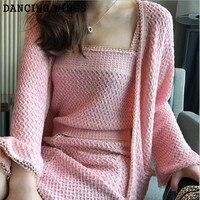Spring Autumn 3 Pieces Set Women Pink Harness T Shirt+Package Hip Skirt+Knit Cardigan Clothing Set