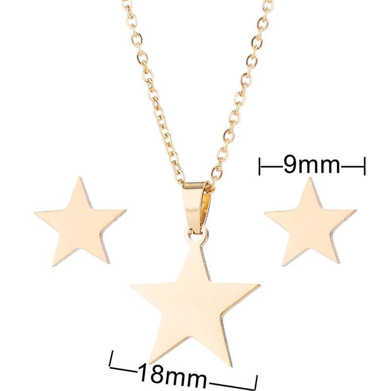 Shuangshuo Paslanmaz Çelik Altın Yıldız Kolye Kolye Küpe Takı Setleri Kadınlar için Küçük Yıldız Gelin Düğün Küpe Setleri