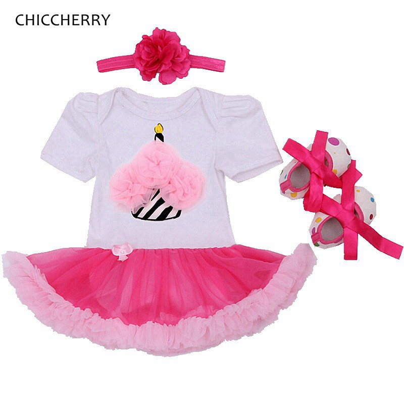 ba9ac3afb416 Cupcake Applique Girls Clothing Sets Toddler Bodysuit Lace Dress Headband  Shoe Baby Girl Clothes Outerwear Newborn ...