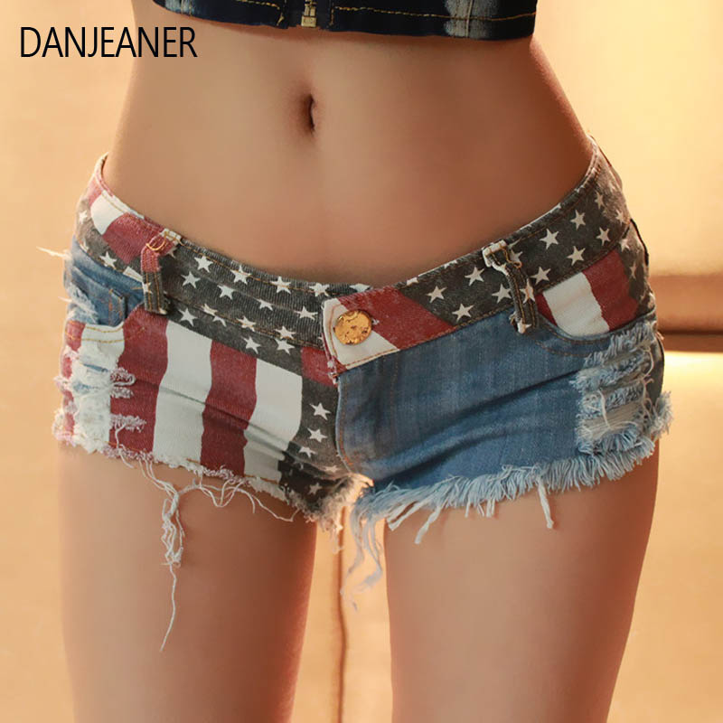 Danjeaner Women Summer Low Waist Sexy Star Stripe Trendy Slim American Us Flag Print Mini Jeans Denim Shorts Plus Size