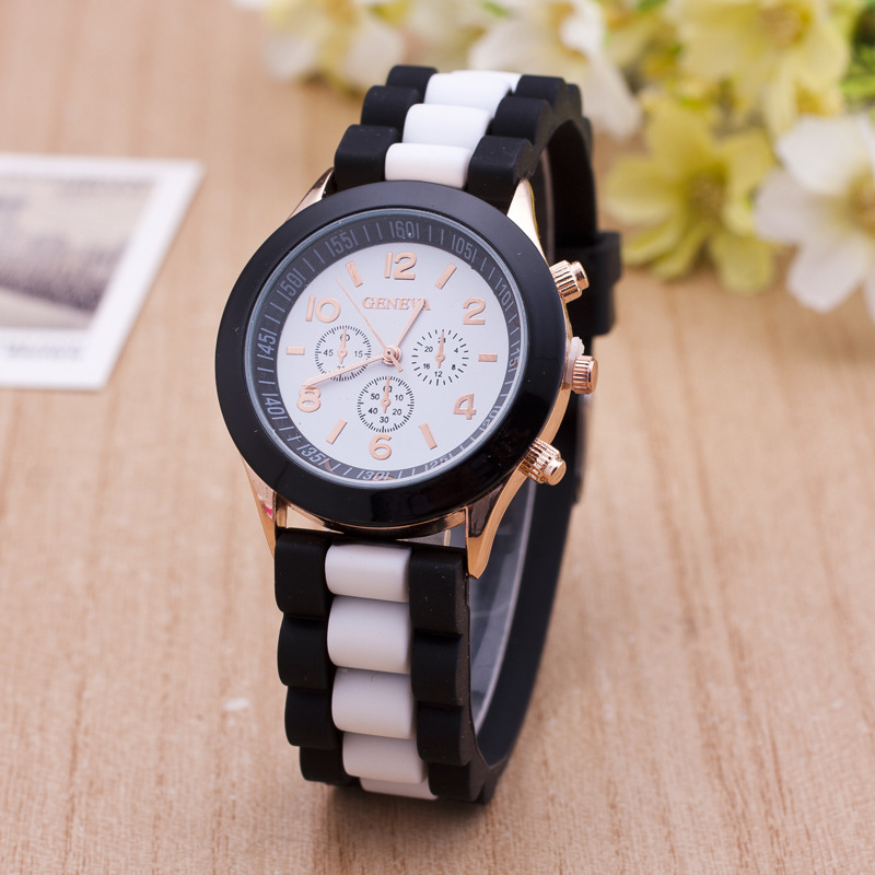 Geneva watches women Classic Jelly Silicone quartz Watch women mixed colors dress bracelet watch Relogio Feminino