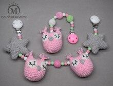 MIYOCAR handmade wood clip pink Crochet owl and star stroller toy chain for pram mobile rattle wooden bead crochet