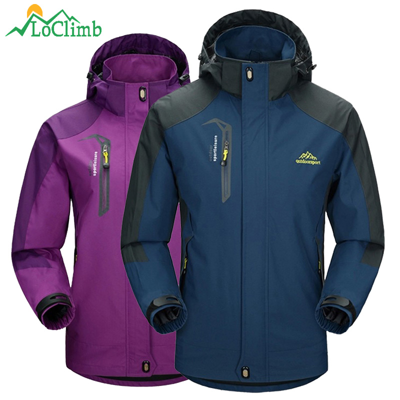 LoClimb Männer Frauen Wasserdichte Camping Wandern Jacke Outdoor-klettern Windjacke Trekking Regen Mantel Kleidung Sport Jacken, AM163