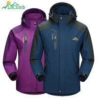 LoClimb Men Women Waterproof Camping Hiking Jacket Outdoor Climbing Windbreaker Trekking Rain Coat Clothing Sport Jackets