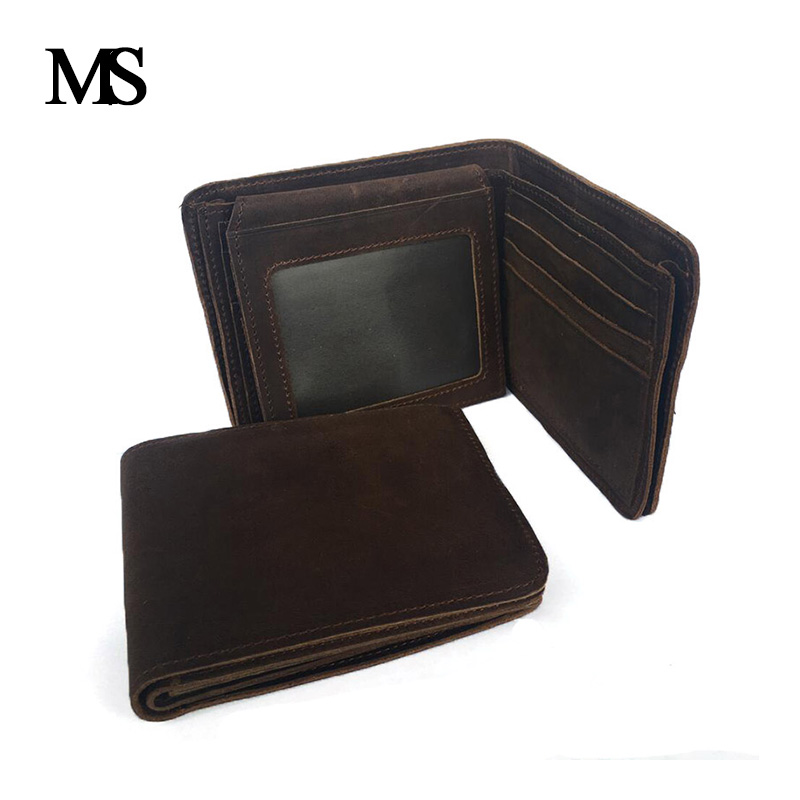 MS New Arrival Vintage Wallet Genuine Leather Men Wallets Crazy Horse Cowhide Leather Fashion Purse With Card Holder TW1663 in Wallets from Luggage Bags