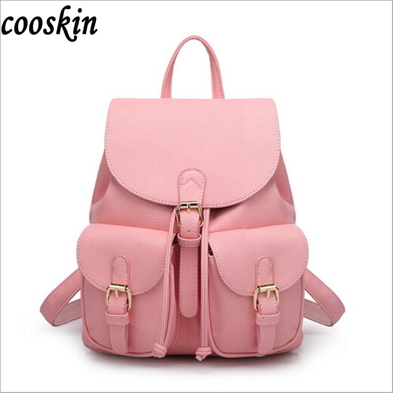 2017 new lady leather backpack black big girl schoolbag travel bag solid color candy color green