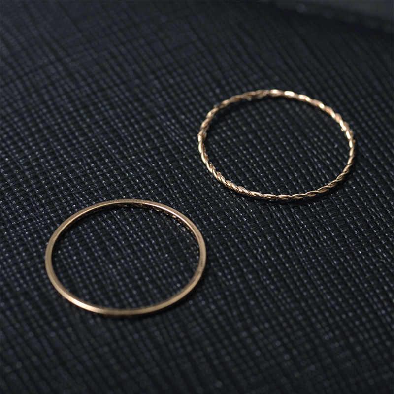 2 Pcs/ชุด Gold-สี Twist เชือกซ้อนที่เรียบง่ายร่วมแหวนแหวนหางแหวนงานแต่งงานแหวนหมั้นแหวนขนาด 6-10