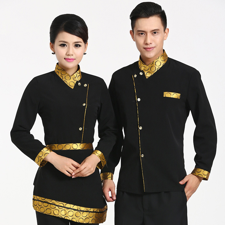 Long Sleeved Chinese Hotel uniforms and work clothes Autumn/Winter Men and Women Restaurant Catering Waiter Uniform Clothing 18 plus size women in leather