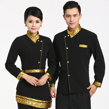 Long Sleeved Chinese Hotel uniforms and work clothes AutumnWinter Men and Women Restaurant Catering Waiter Uniform Clothing 18 Top