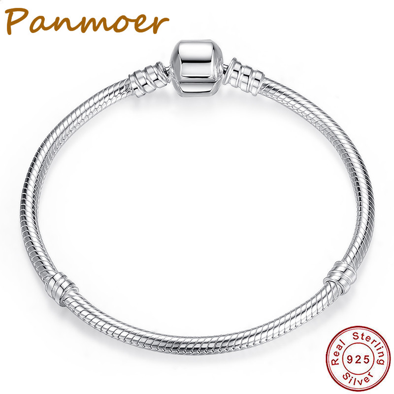 100% 925 Sterling Silver Snake Chain Round buckle Bracelet fit pandor charms women costume jewelry Authentic Luxury Jewelry
