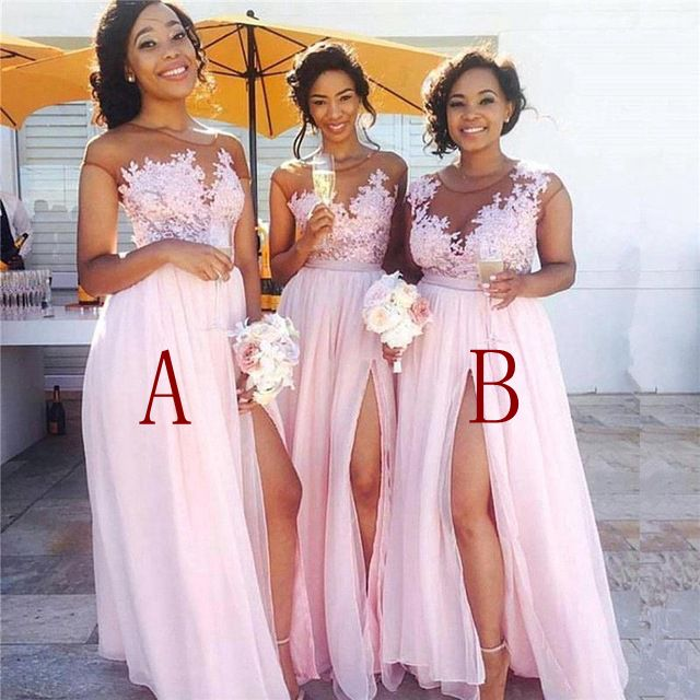 Robe Demoiselle D'honneur Sexy Slit Pink Lace Bridesmaid Dresses Long See Through Appliques Wedding Party Gowns