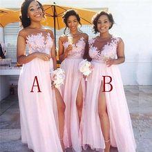 Robe demoiselle d'honneur Sexy Slit Pink Lace Bridesmaid Dresses
