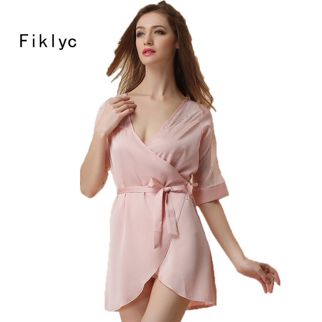 7e3f2ca0f3 Fiklyc brand women s short sleeve sexy robes fashion luxury satin silk lace  nightwear bathrobes bridesmaids wedding