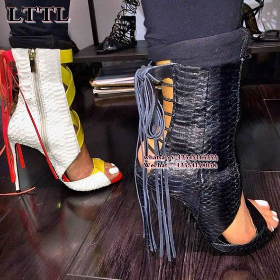 Fashion New Black Yellow Leather Peep Toe Summer Boots Women Fringed Sandals High Heels Ankle Booties Women Pumps Stilettos