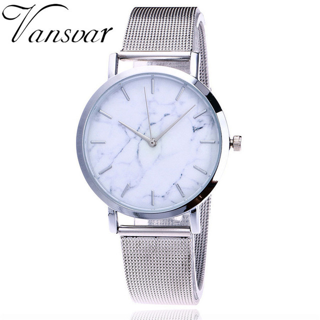 Vansvar Luxury Brand Women Watch Fashion Silver And Gold Mesh Band Creative Marb
