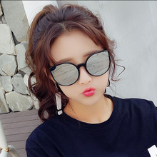 2019New fashion dazzling  Cat eye Women Sunglasses Brand Designer Metal colorful Reflective Glasses For UV400