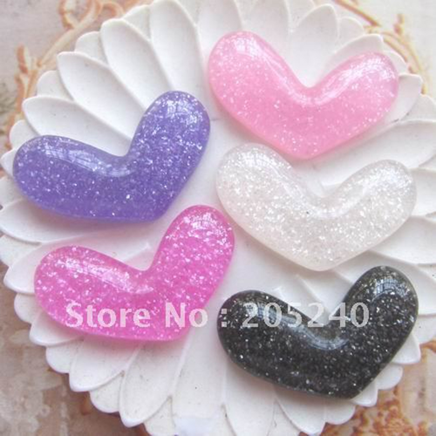 Material For DIY Decoration 30pcs Mixed 5colors(22*16mm) Cute Resin Cabochon Gilitter Heart