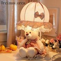 Мультфильм творческий принцесса медведь настольная лампа для девочек комната детская спальня ночники милый кружева Настольная лампа Бесп