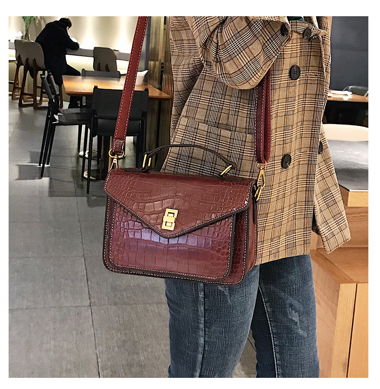 MJ Women Messenger Bag Fashion Crocodile Pattern PU Leather Female Small Handbag Tote Bags Crossbody Shoulder Bag for Girls (6)