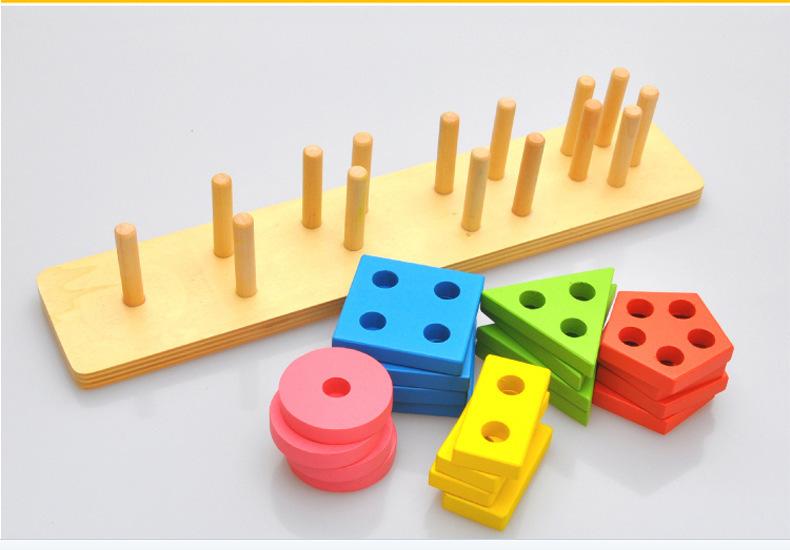 Montessori Toys Wooden Blocks Geometry Shape Model Building Kits Children Educational Toy Wood Building Blocks 5