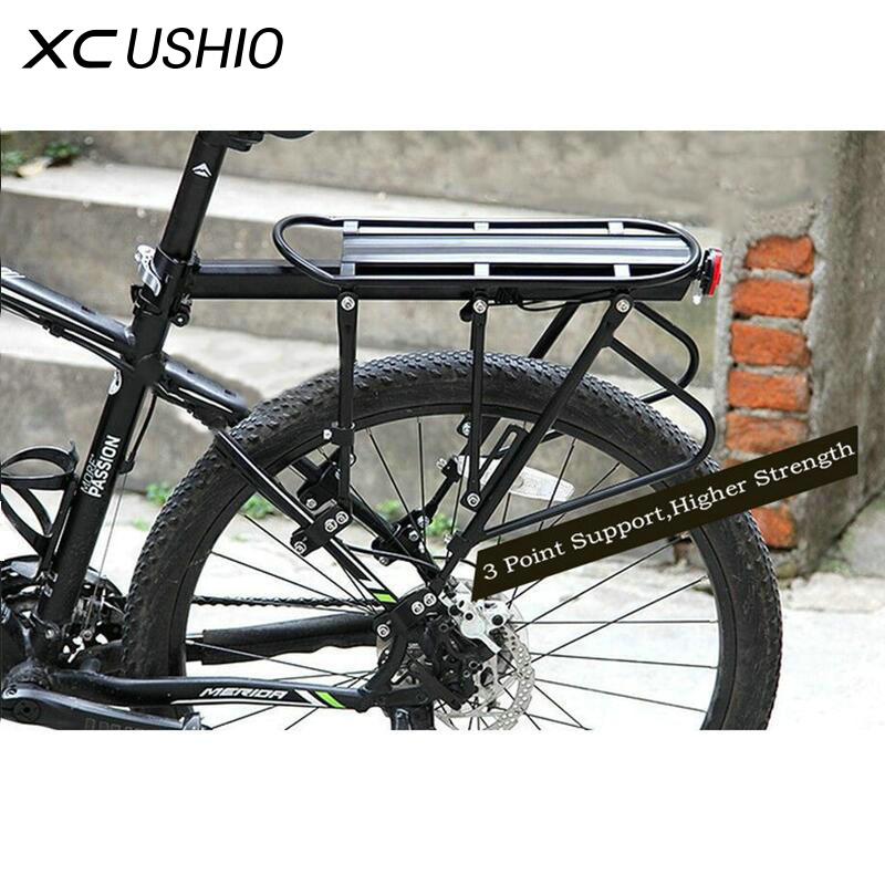 XC USHIO Mountain Bike Bicycle Cargo Racks Aluminum Bicycle Luggage Carrier MTB Bicycle Mountain Bike Road Bikes Rear Rack Black auxmart universal car roof rack cross bar 90 120cm with anti theft lock auto roof boxes racks bike load cargo carrier luggage