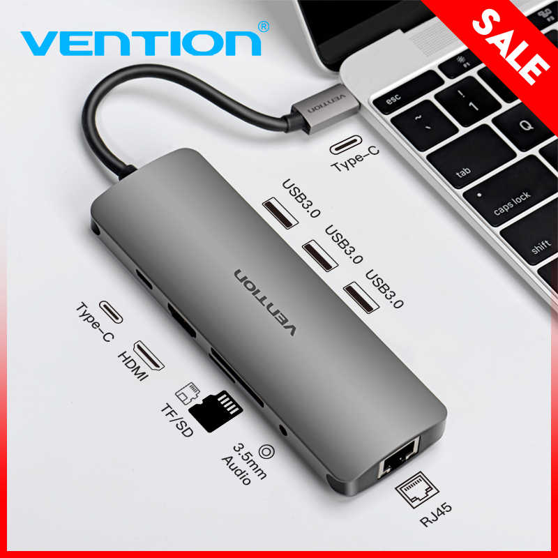 Vention USB C HUB Type C To HDMI USB 3.0 HUB thunderbolt 3 RJ45 Adapter for MacBook Samsung S8/S9 Huawei P20 Pro usb-c adapter