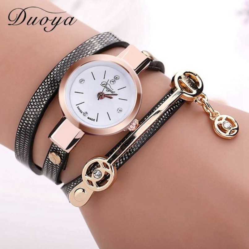 New Arrive Duoya Watch Women, Luxury Gold Gemstone Dress Watches, Women Bracelet Watch Female Leather Quartz Watches