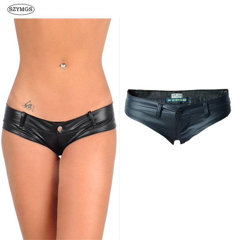SZYMGS Fashion Elastic MINI   Shorts   Faux Leather Booty   Shorts   Micro Mini Jeans Cheeky Bikini Hot   Short   Pants Bottom   Short