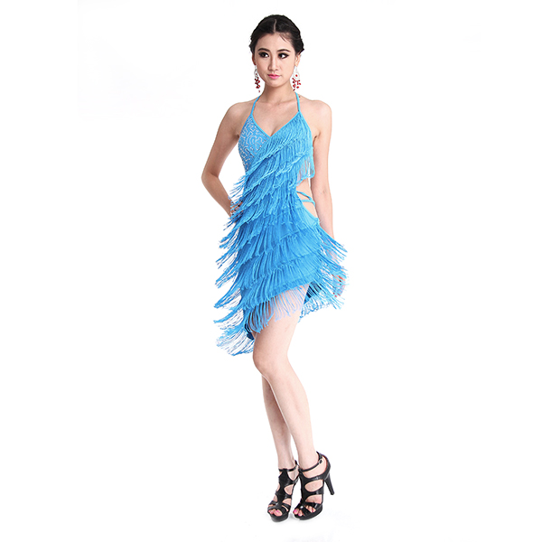 7a519ff1c مثير السيدات اللاتينية فستان رقص عارية الذراعين مهدب الرسن Clubwear عالية  الجودة مثير شرابة هامش اللاتينية أزياء رقص للنساء