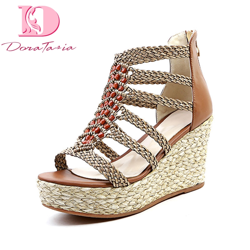 Doratasia 2018 summer brand cow leather women gladiator sandals comfort lining thick platform high wedges shoes