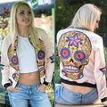 Womens Ladies Classic Fashion Zip Up Biker Chaqueta de Bombardero de La Vendimia Ocasional Outwear