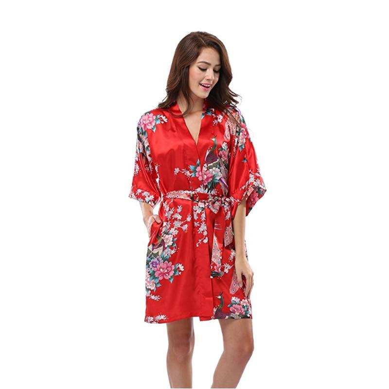 Red Chinese Wedding Bride Robe Satin Sleepwear Print Flower Negligee Sexy  Mini Nightgown Female Nightdress Kimono c6c9b4629