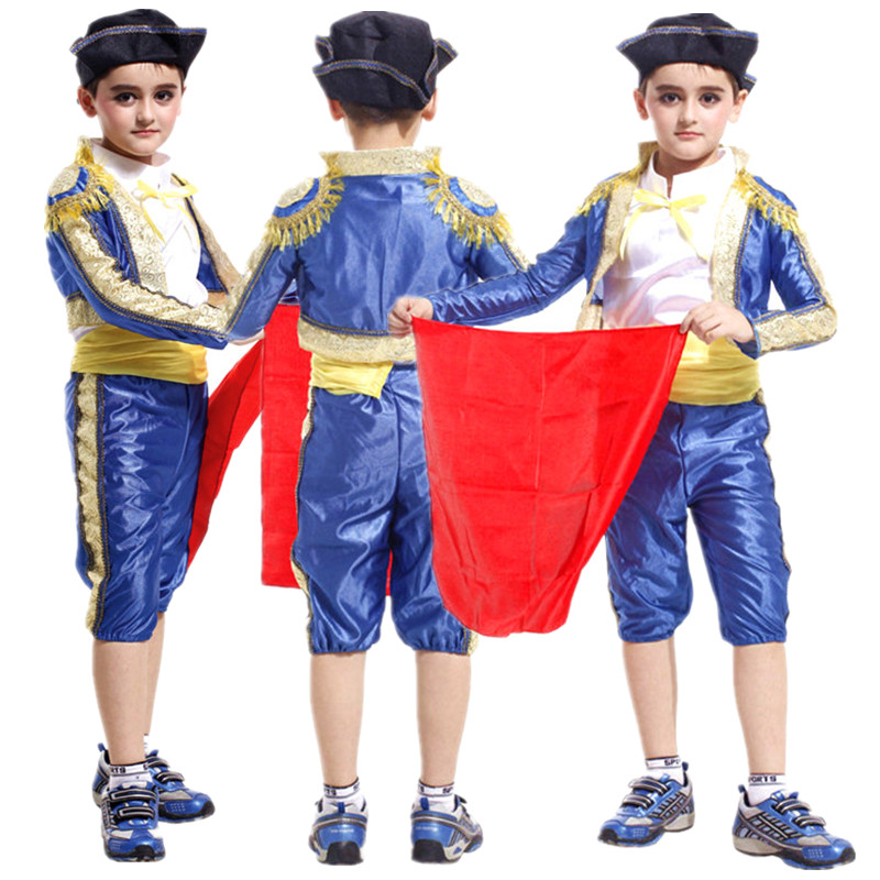 Free Shipping Children Boys Spanish Matador Costume Halloween Carnival Masquerade Fancy Dress Bullfighter Kids Cosplay Clothes