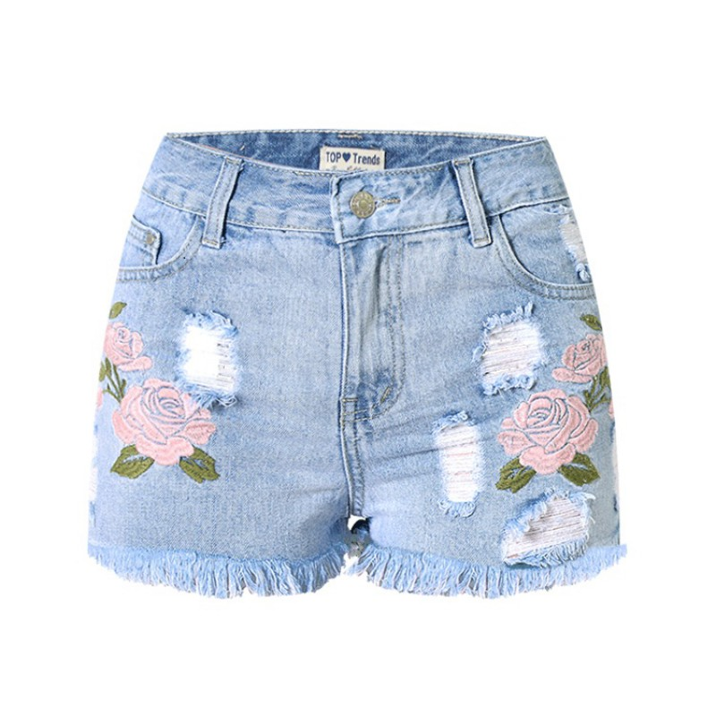 Embroidery Denim Shorts Floral High Waist Jeans Short Female Frayed Hole Shorts Plus Size Summer Shorts  women s floral embroidery denim shorts 2017 summer fashion hight waist short jeans femme cotton shorts plus size xl e984