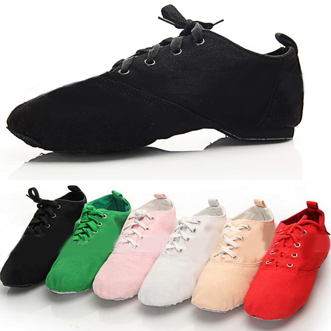 New Men Woman's Canvas Jazz Dance Shoes Lace Up Boots Woman Practice Yoga Shoes Soft Jazz Boots Black Red White Green Pink