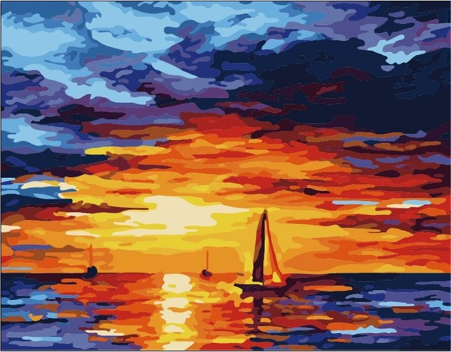 Hand painted Abstract seascape Flameless picture Diy canvas oil painting Acrylic paint by