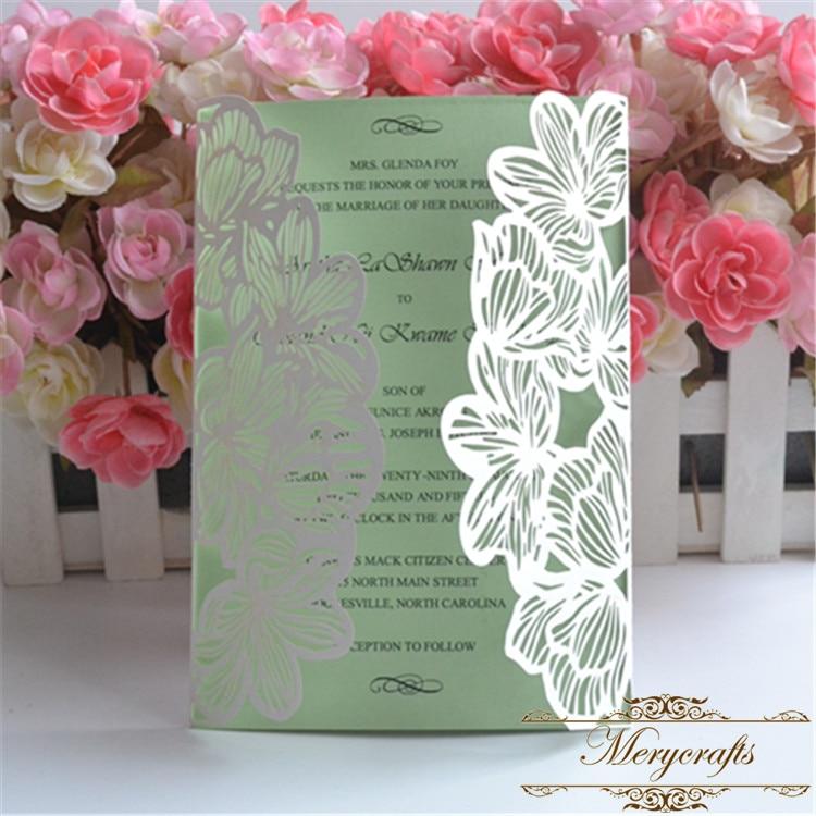 Free Shipping Laser Cut Wedding Invitations 12pcs Flower Bulk Wedding And  Party Invitation Card