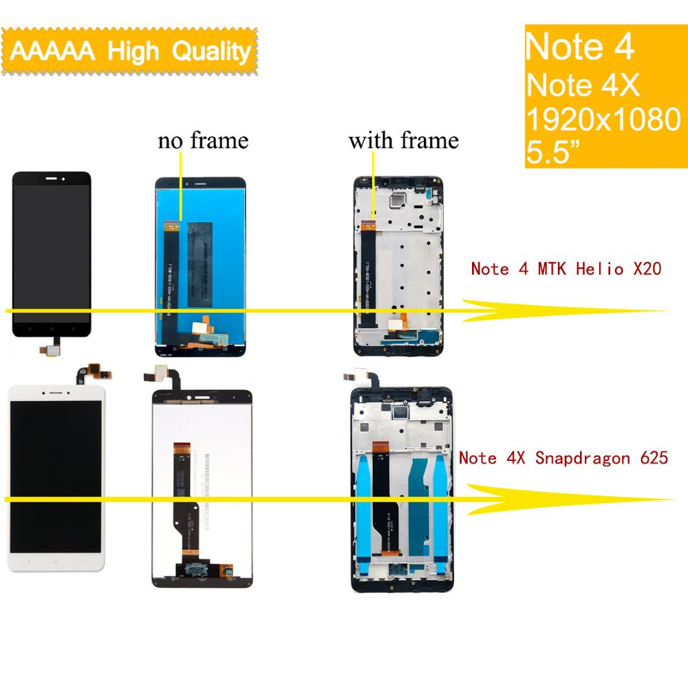 ORIGINAL For XIAOMI Note 4 Note 4 MTK Helio X20 LCD Touch Screen With Frame Assembly For Xiaomi Redmi Note 4X Snapdragon 625 LCD