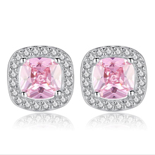 100% 高級 925 スターリングシルバーピンク宝石の石のイヤリング結婚指輪婚約イヤリング女性卸売 NY105