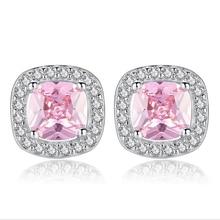 100% luxus 925 Sterling Silber Rosa Edelstein stein Ohrring Zirkon Hochzeit Engagement Ohrringe Frauen Großhandel NY105