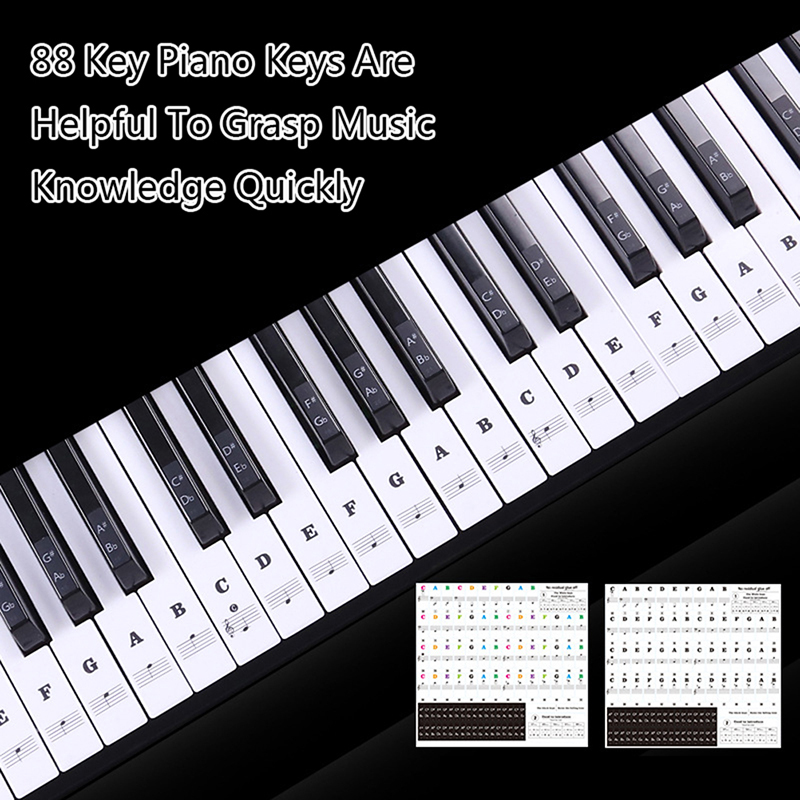 Piano Sticker Transparent Piano Keys Electronic Keyboard Key Sticker Piano Stave Note Sticker For Key Music Decal