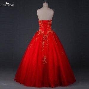 Image 2 - TW0194 الأحمر الزفاف اللباس الذهب التطريز Sweethearted مع الديكور الكرة ثوب فساتين الزفاف الباكستاني
