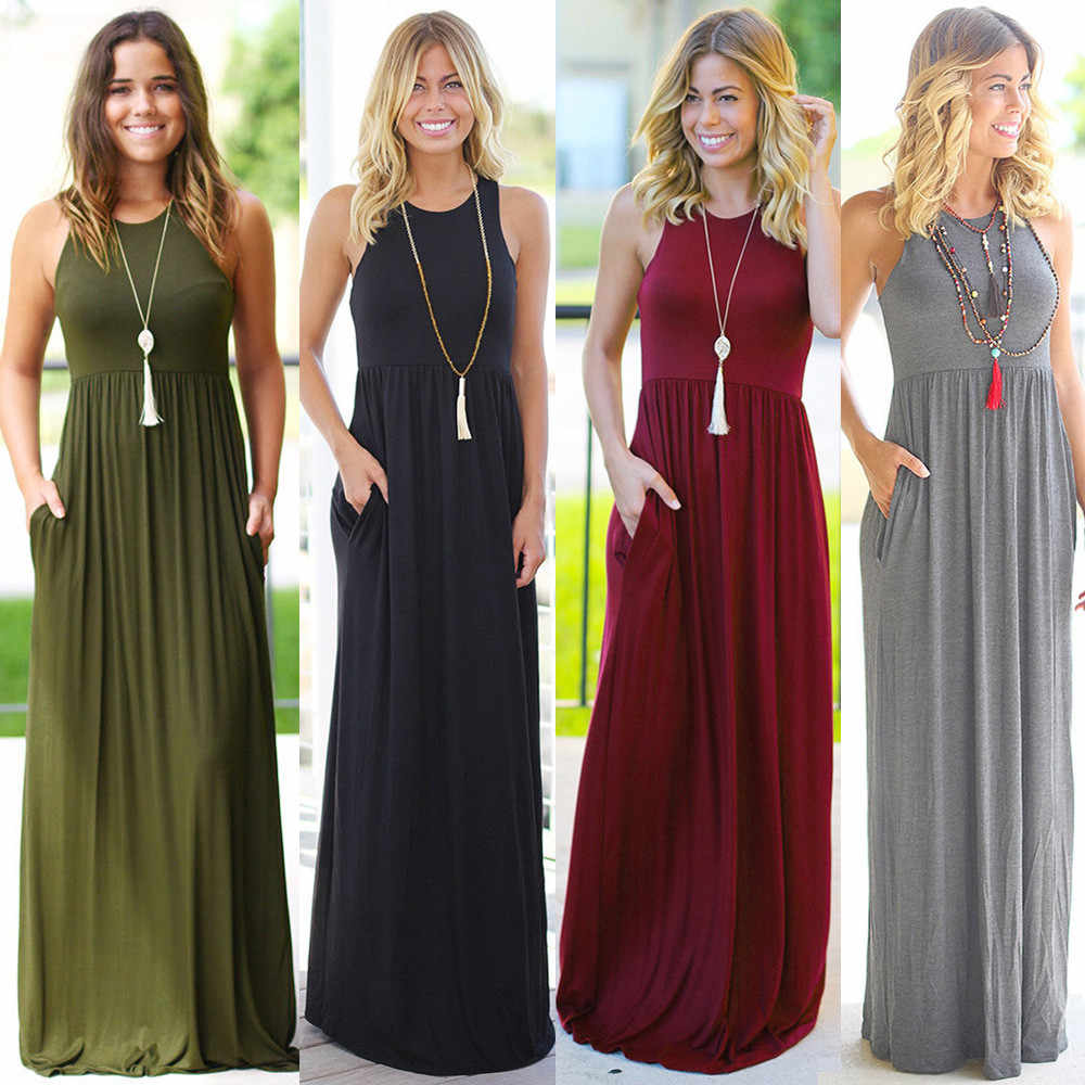 Female Solid Long Boho Dress Lady Beach Summer Sundrss Maxi Dress Women's Sleeveless Solid Color Pocket Dress vestido de verano